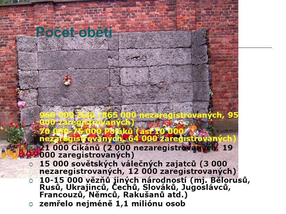 Počet obětí 960 000 Židů (865 000 nezaregistrovaných, 95 000 zaregistrovaných)