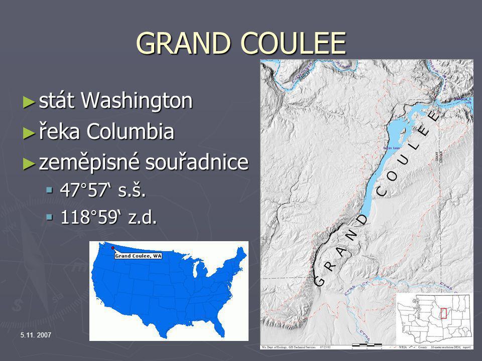 GRAND COULEE stát Washington řeka Columbia zeměpisné souřadnice