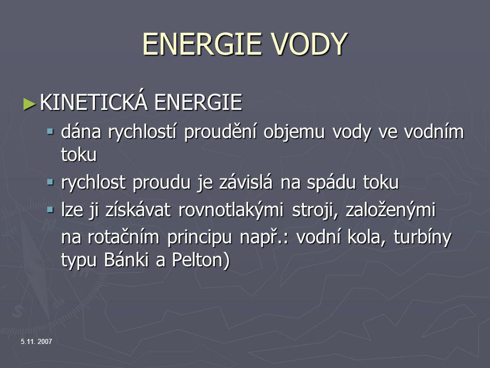 ENERGIE VODY KINETICKÁ ENERGIE