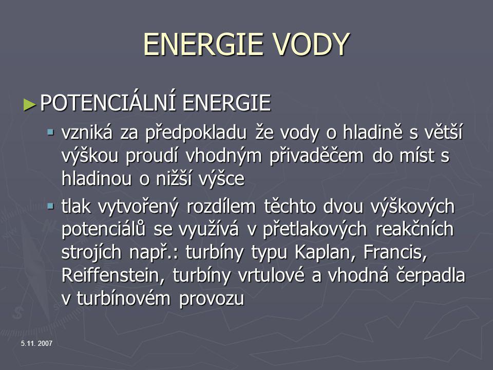ENERGIE VODY POTENCIÁLNÍ ENERGIE