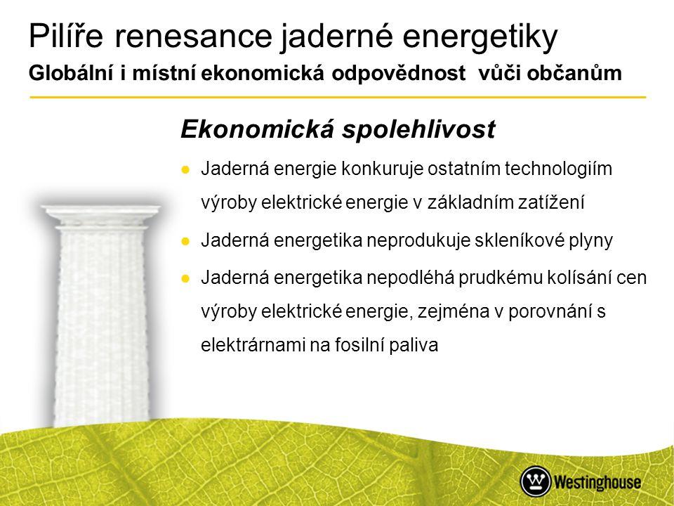 Pilíře renesance jaderné energetiky Globální i místní ekonomická odpovědnost vůči občanům