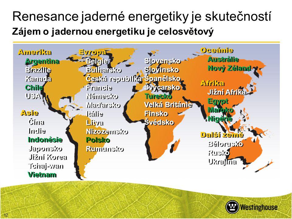 Renesance jaderné energetiky je skutečností Zájem o jadernou energetiku je celosvětový