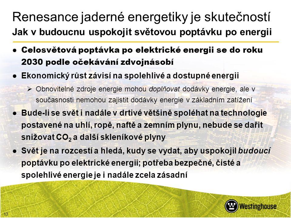 Renesance jaderné energetiky je skutečností Jak v budoucnu uspokojit světovou poptávku po energii