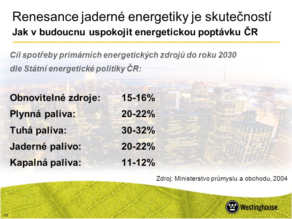 Renesance jaderné energetiky je skutečností Jak v budoucnu uspokojit energetickou poptávku ČR