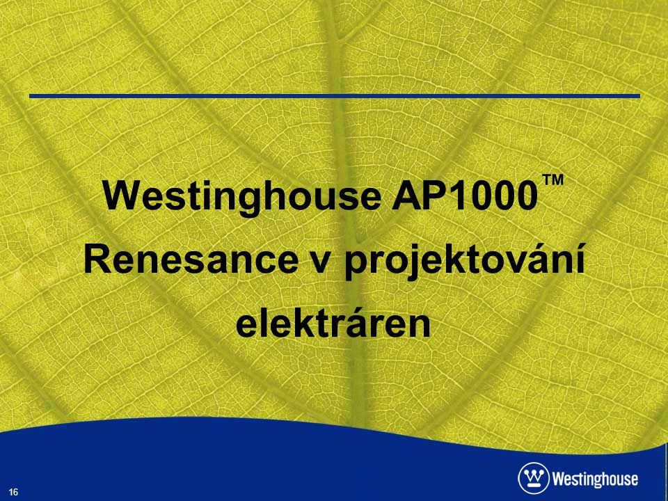 Westinghouse AP1000™ Renesance v projektování elektráren