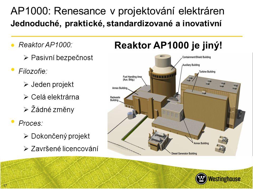 AP1000: Renesance v projektování elektráren Jednoduché, praktické, standardizované a inovativní