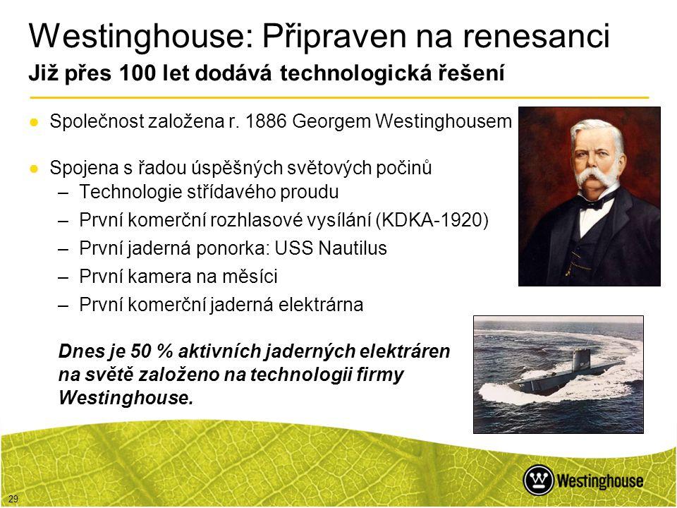 Westinghouse: Připraven na renesanci Již přes 100 let dodává technologická řešení