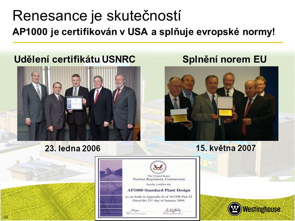Renesance je skutečností AP1000 je certifikován v USA a splňuje evropské normy!