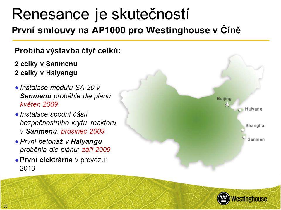 Renesance je skutečností První smlouvy na AP1000 pro Westinghouse v Číně