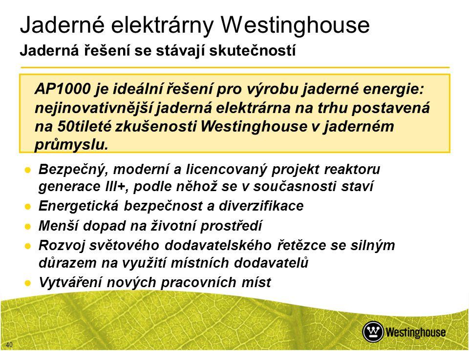 Jaderné elektrárny Westinghouse Jaderná řešení se stávají skutečností