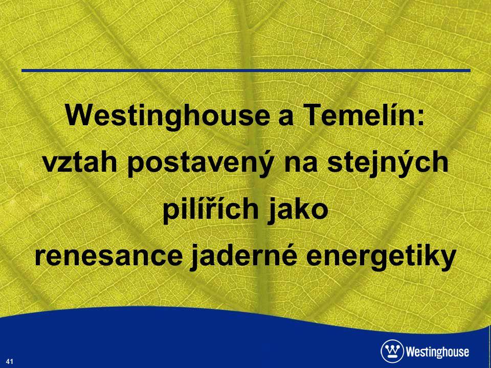 Westinghouse a Temelín: vztah postavený na stejných pilířích jako renesance jaderné energetiky