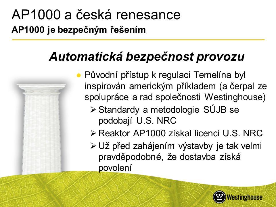 AP1000 a česká renesance AP1000 je bezpečným řešením