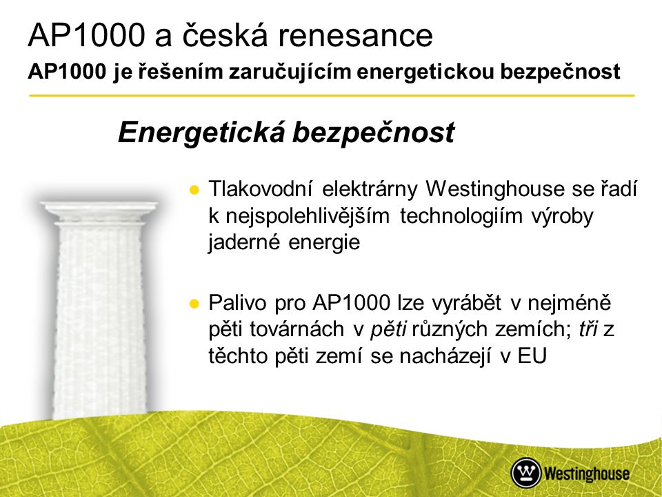AP1000 a česká renesance AP1000 je řešením zaručujícím energetickou bezpečnost