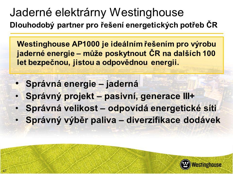 Jaderné elektrárny Westinghouse Dlouhodobý partner pro řešení energetických potřeb ČR