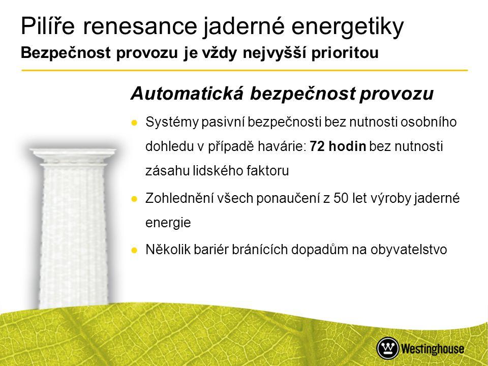 Pilíře renesance jaderné energetiky Bezpečnost provozu je vždy nejvyšší prioritou
