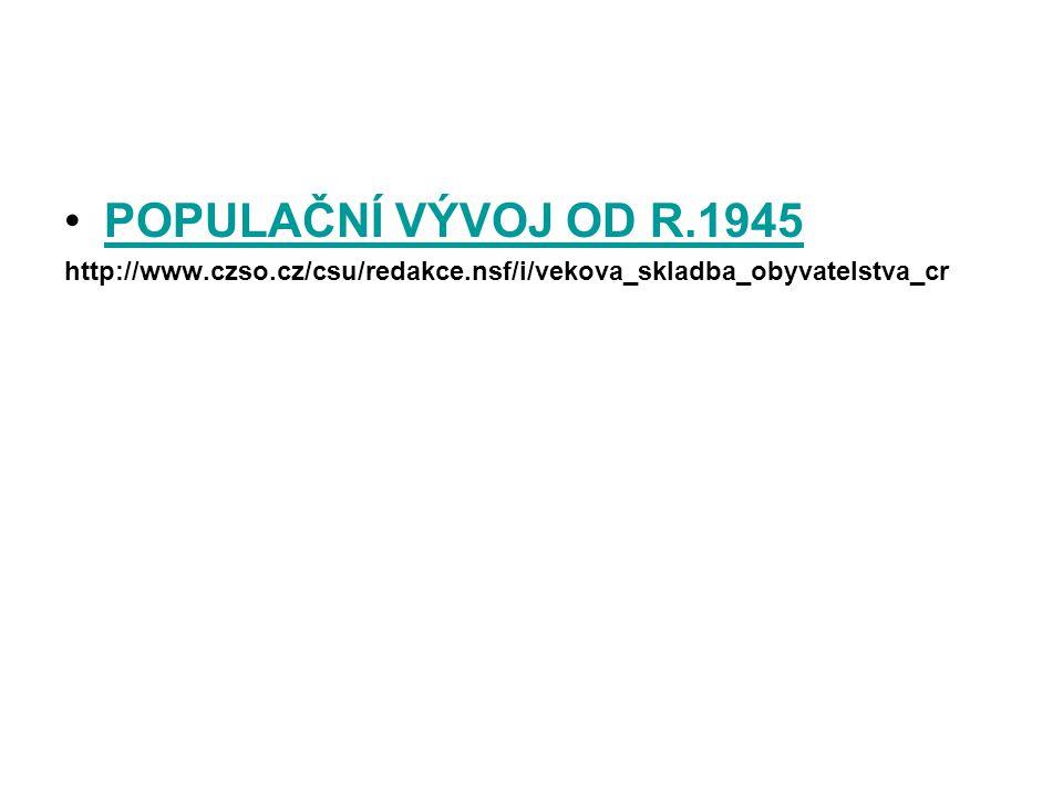 POPULAČNÍ VÝVOJ OD R.1945 http://www.czso.cz/csu/redakce.nsf/i/vekova_skladba_obyvatelstva_cr