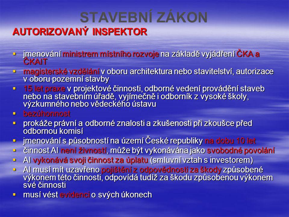 STAVEBNÍ ZÁKON AUTORIZOVANÝ INSPEKTOR