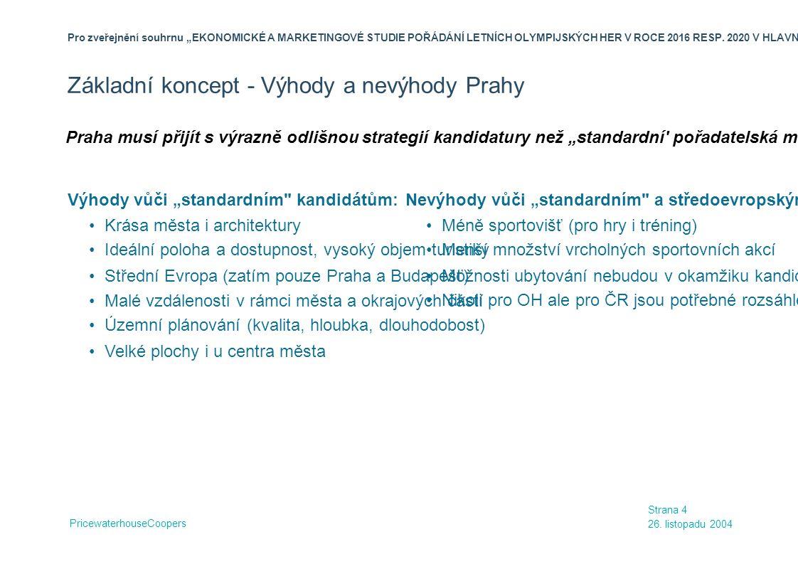 Základní koncept - Výhody a nevýhody Prahy