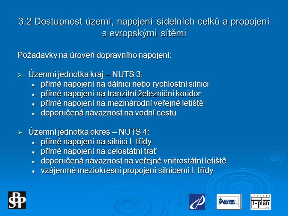 3.2 Dostupnost území, napojení sídelních celků a propojení s evropskými sítěmi