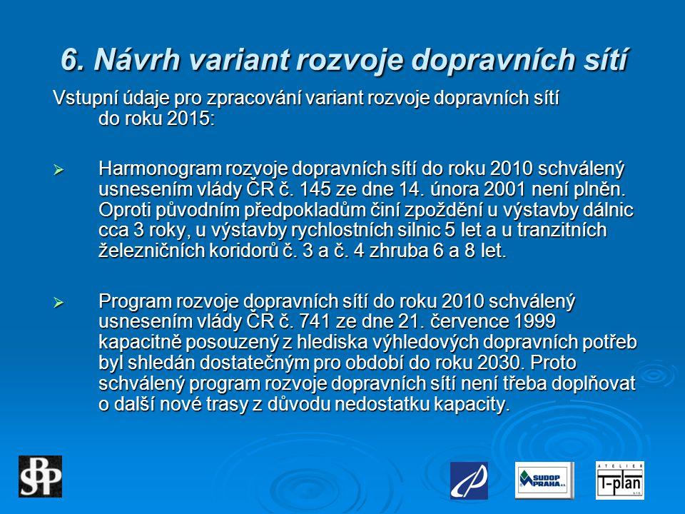 6. Návrh variant rozvoje dopravních sítí