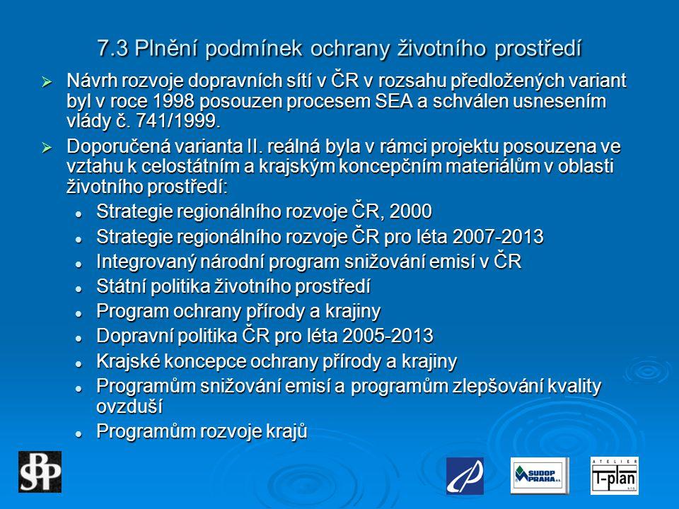 7.3 Plnění podmínek ochrany životního prostředí