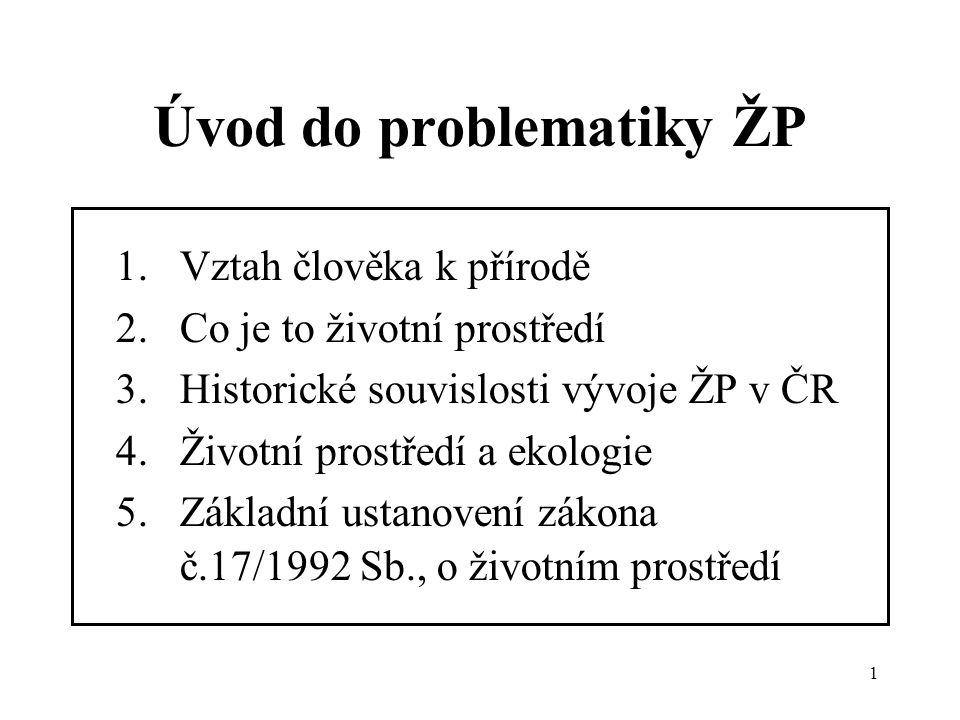 Úvod do problematiky ŽP