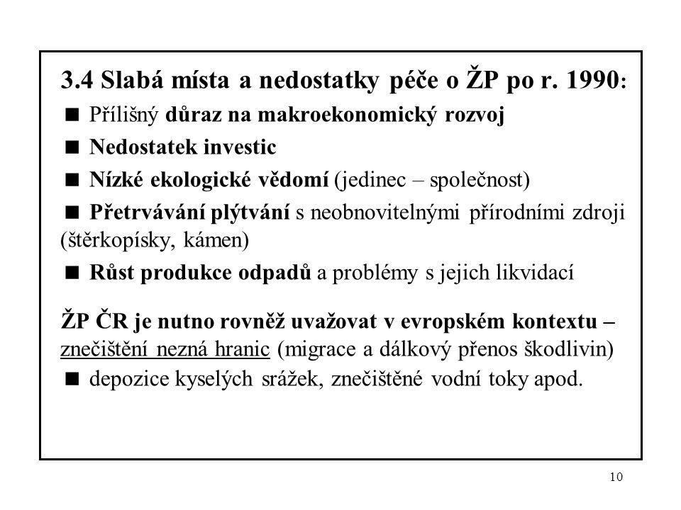 3.4 Slabá místa a nedostatky péče o ŽP po r. 1990: