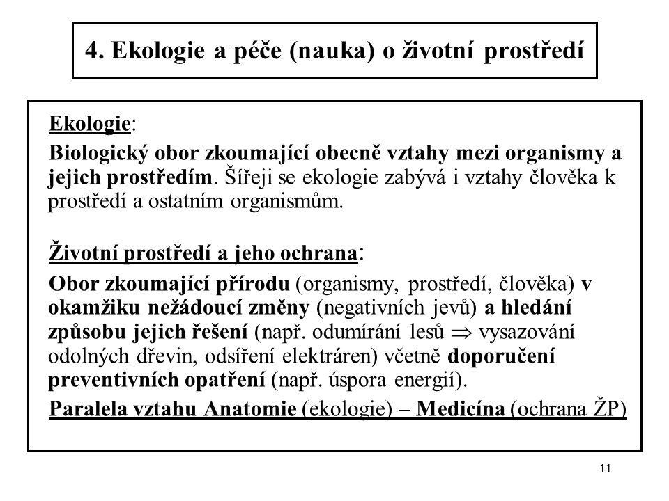 4. Ekologie a péče (nauka) o životní prostředí