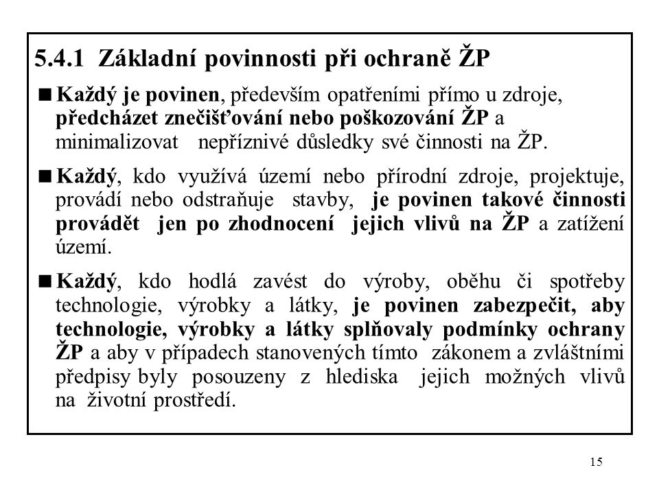 5.4.1 Základní povinnosti při ochraně ŽP