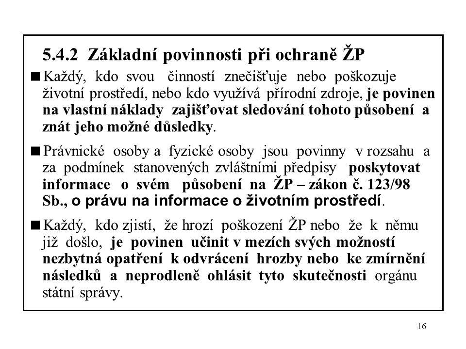5.4.2 Základní povinnosti při ochraně ŽP