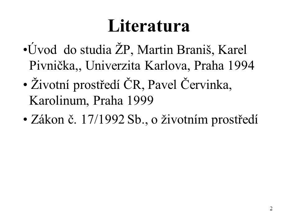 Literatura •Úvod do studia ŽP, Martin Braniš, Karel Pivnička,, Univerzita Karlova, Praha 1994.