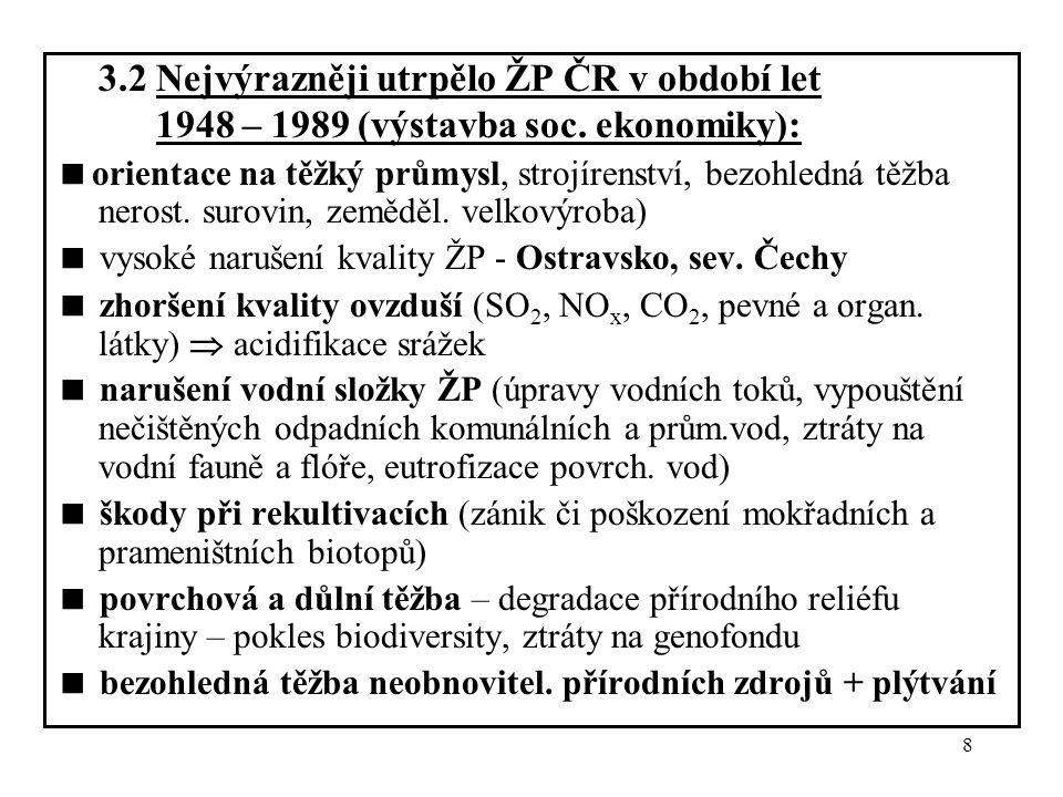 3.2 Nejvýrazněji utrpělo ŽP ČR v období let