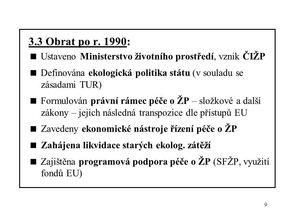 3.3 Obrat po r. 1990:  Ustaveno Ministerstvo životního prostředí, vznik ČIŽP.  Definována ekologická politika státu (v souladu se zásadami TUR)