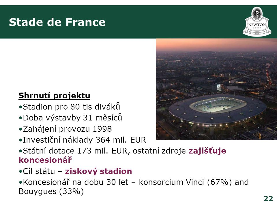 Stade de France Shrnutí projektu Stadion pro 80 tis diváků