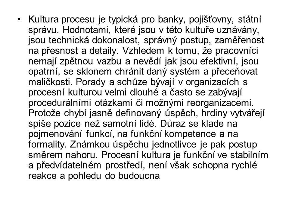 Kultura procesu je typická pro banky, pojišťovny, státní správu