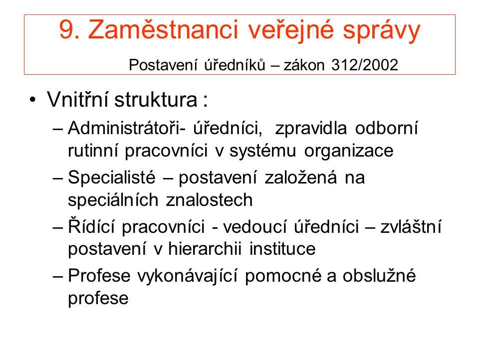 9. Zaměstnanci veřejné správy Postavení úředníků – zákon 312/2002