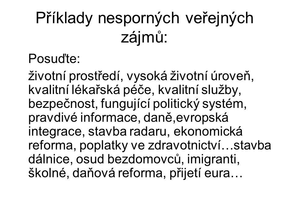 Příklady nesporných veřejných zájmů: