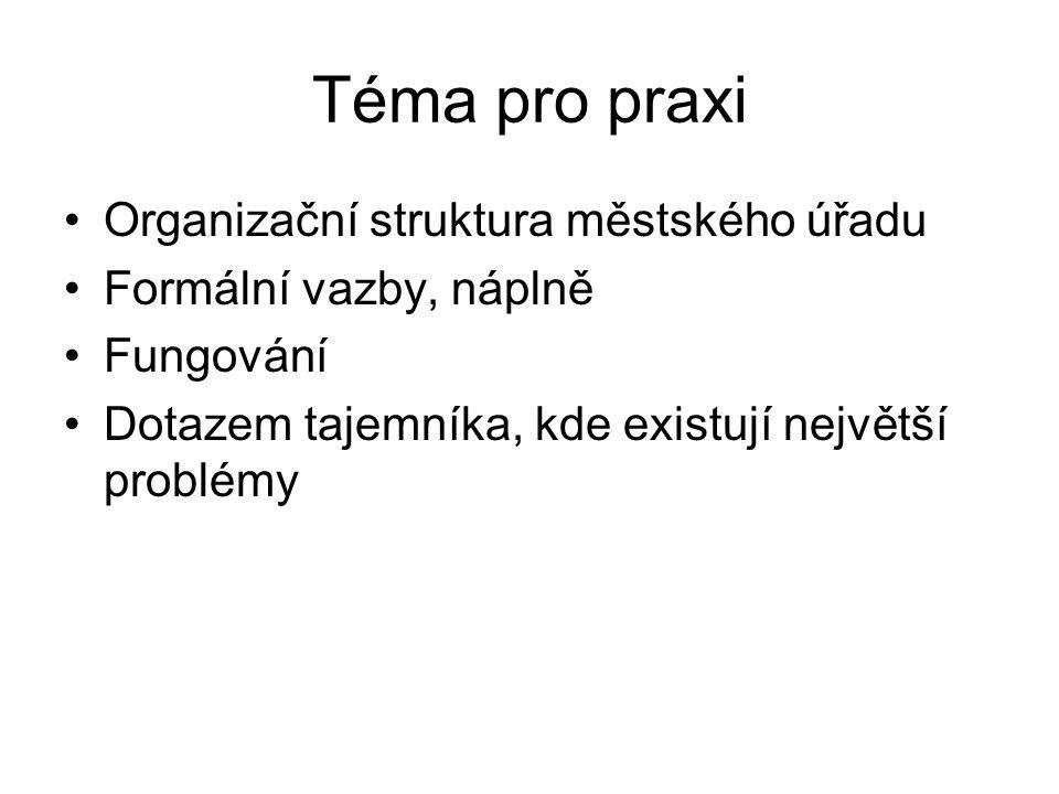 Téma pro praxi Organizační struktura městského úřadu