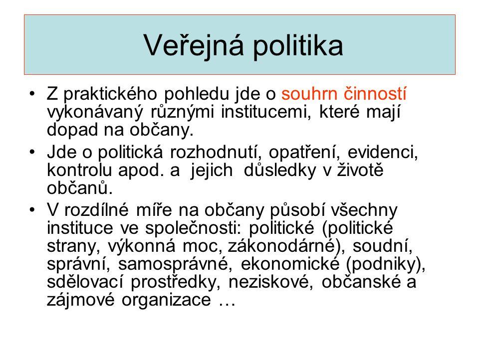 Veřejná politika Z praktického pohledu jde o souhrn činností vykonávaný různými institucemi, které mají dopad na občany.