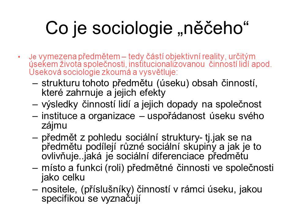 """Co je sociologie """"něčeho"""