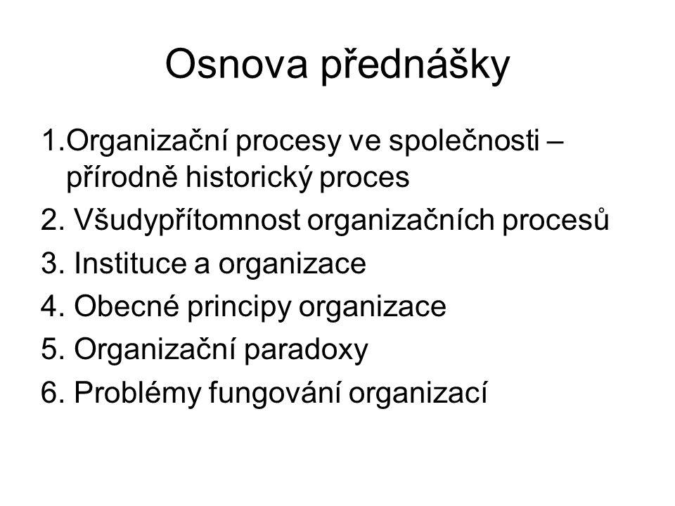 Osnova přednášky 1.Organizační procesy ve společnosti – přírodně historický proces. 2. Všudypřítomnost organizačních procesů.
