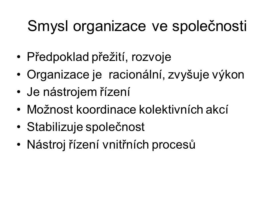 Smysl organizace ve společnosti