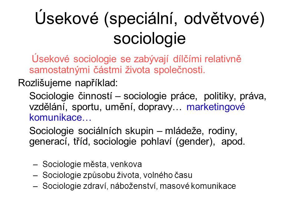 Úsekové (speciální, odvětvové) sociologie