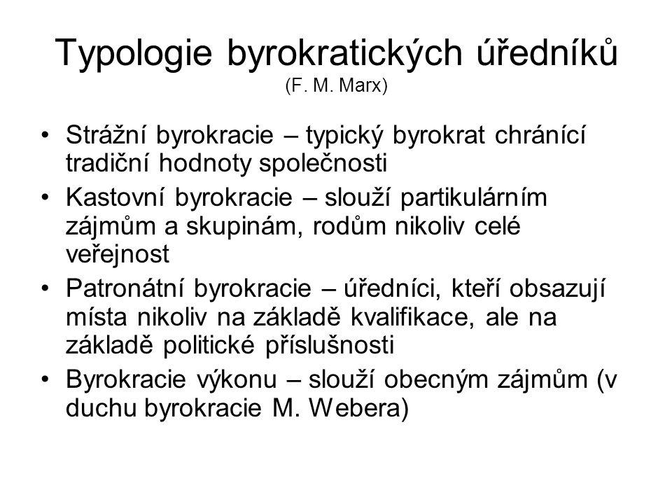 Typologie byrokratických úředníků (F. M. Marx)