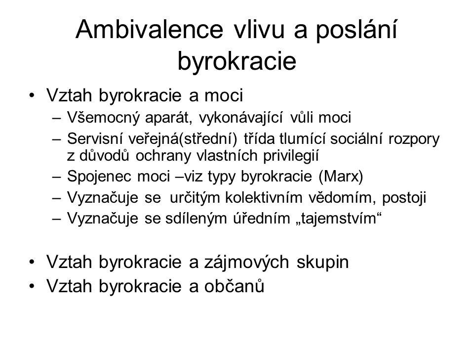 Ambivalence vlivu a poslání byrokracie