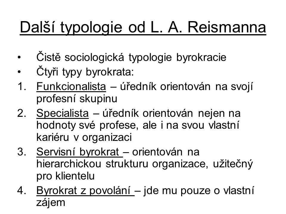 Další typologie od L. A. Reismanna