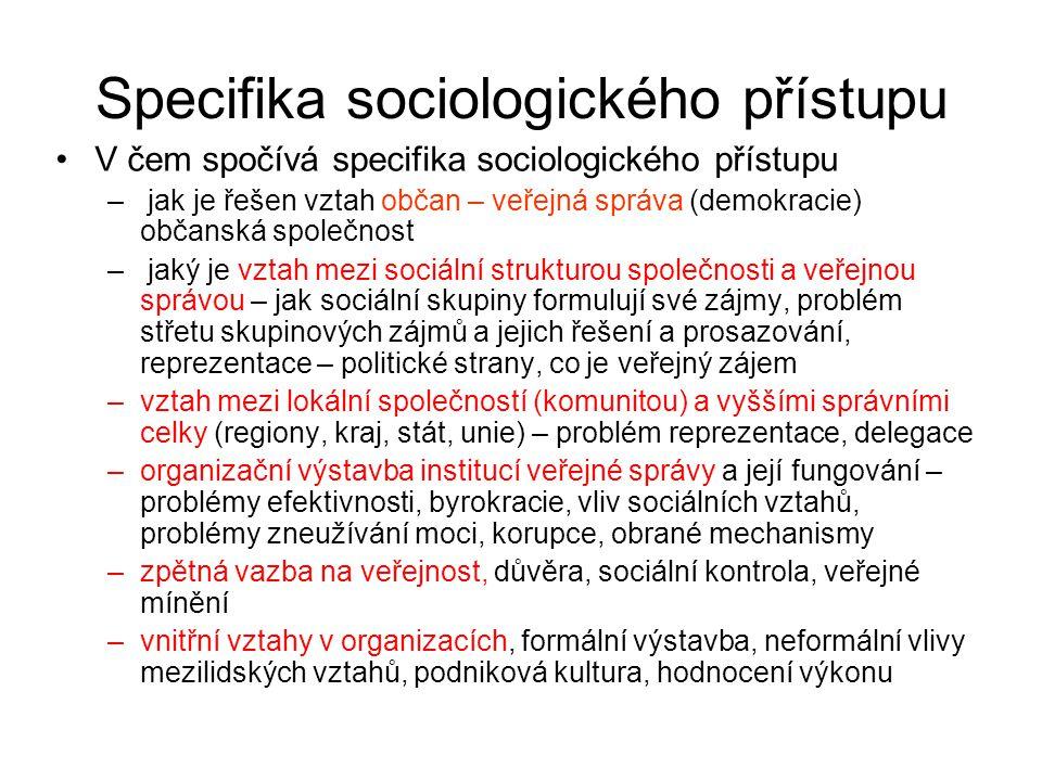 Specifika sociologického přístupu