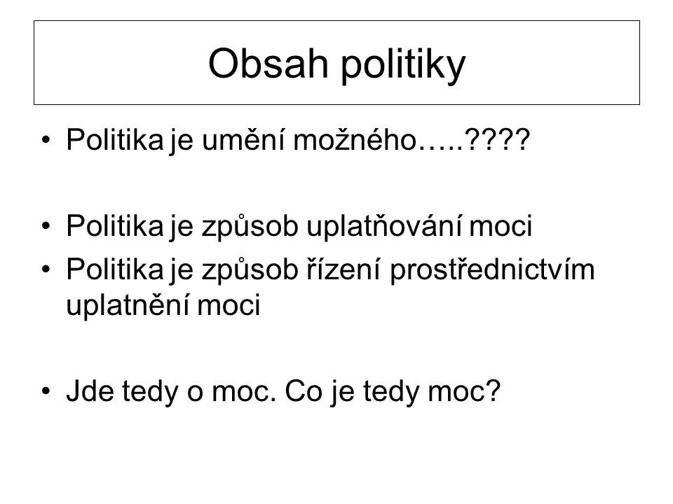 Obsah politiky Politika je umění možného…..