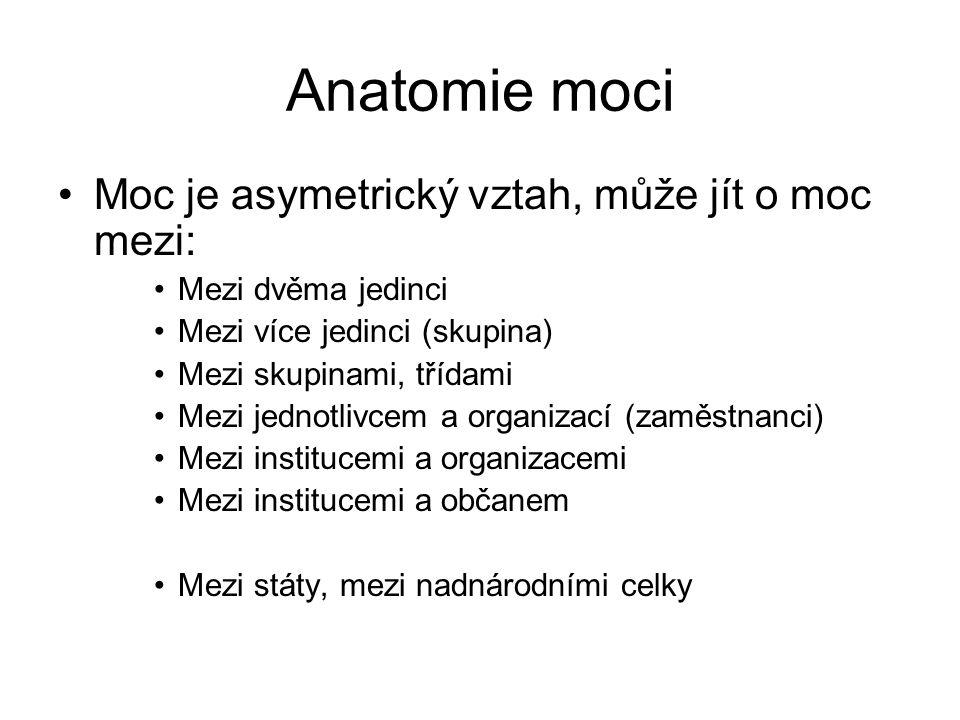 Anatomie moci Moc je asymetrický vztah, může jít o moc mezi: