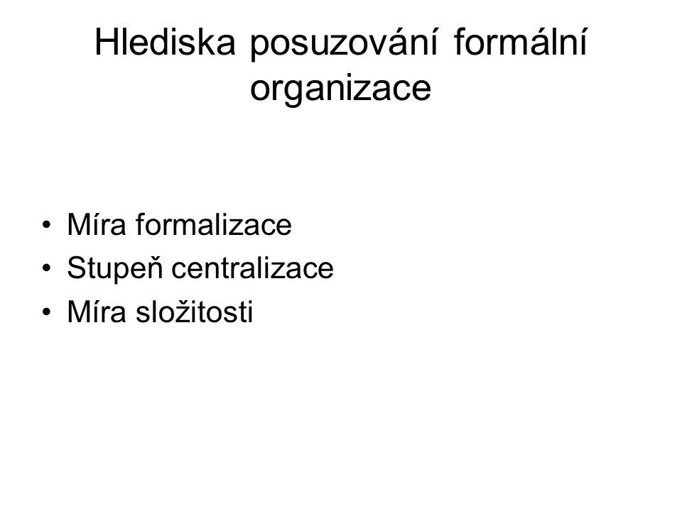 Hlediska posuzování formální organizace
